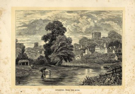 1895 GUILDFORD Surrey ANTIQUE PRINT